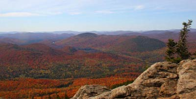 view from summit at Crane Mountain with fall foliage
