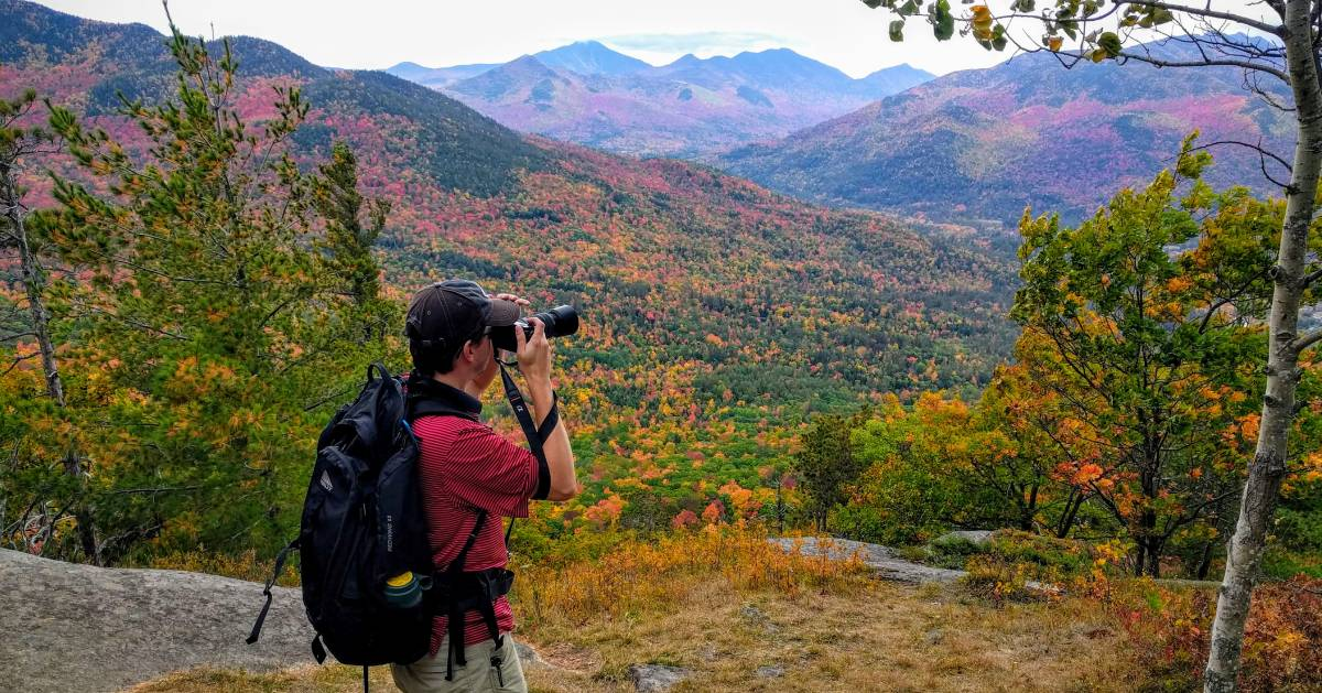 man photographing foliage in mountains