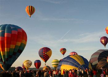 a hot air balloon launch