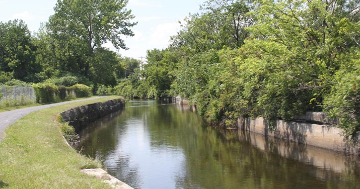 canal along a path