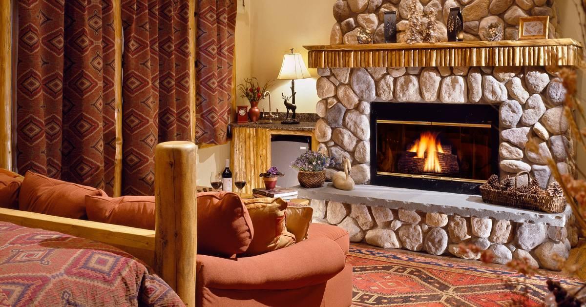 fire in fireplace in room