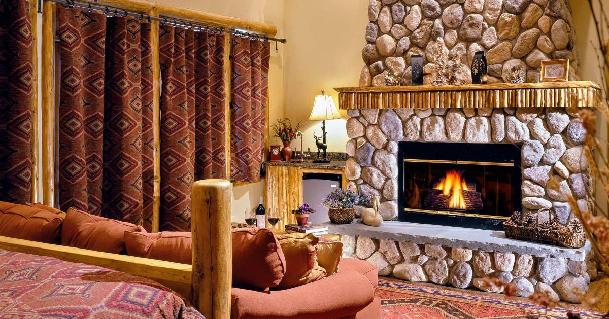 bed with fireplace