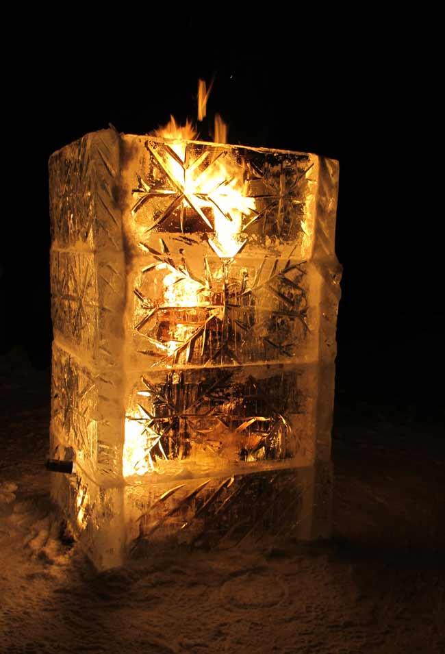 fire inside ice sculpture
