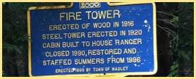 hadley fire tower sign