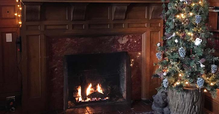 a fireplace with decorations