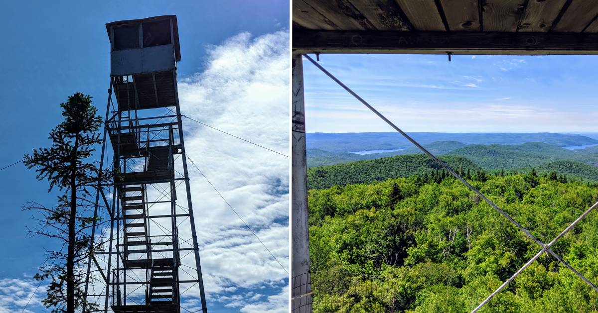 split image of fire tower and view from fire tower