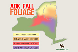 adirondack fall foliage map