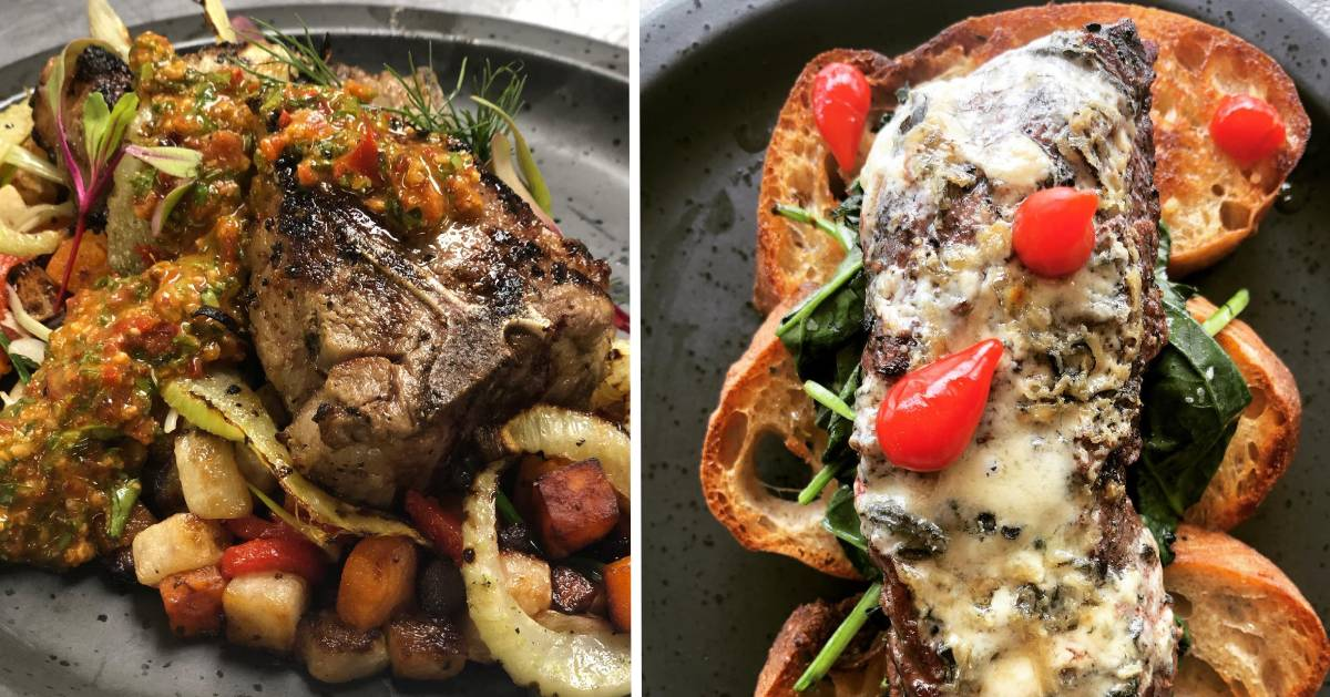 split image with food on either side