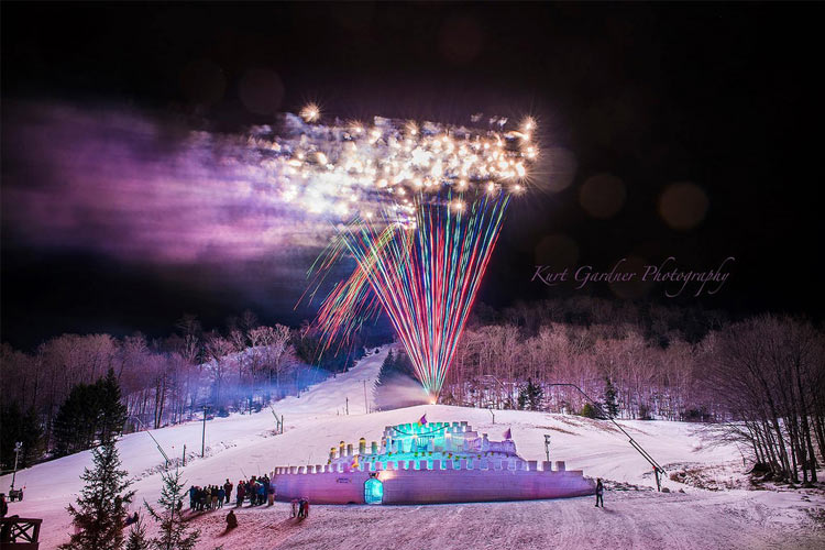old forge winter carnival ice palace and fireworks