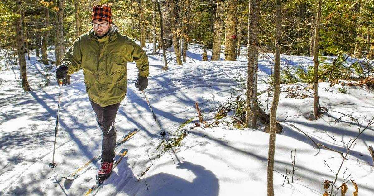 guy snowshoeing