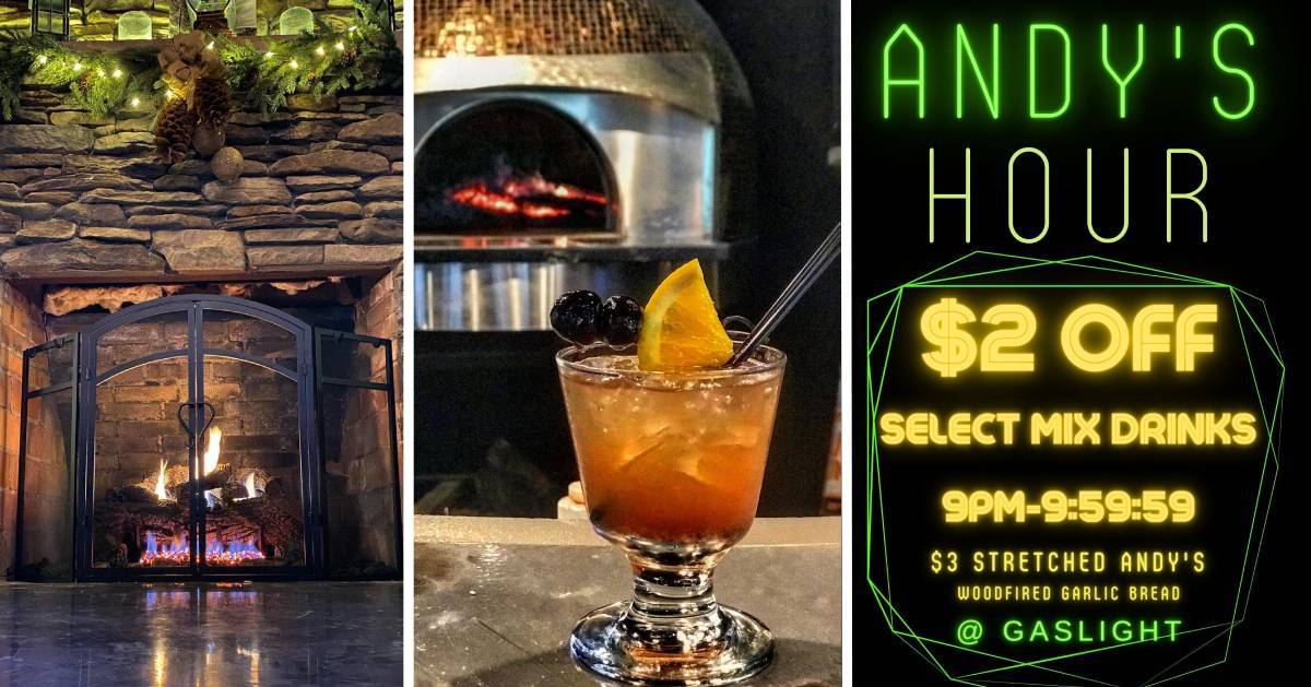 split image fireplace, cocktail, and drink specials poster