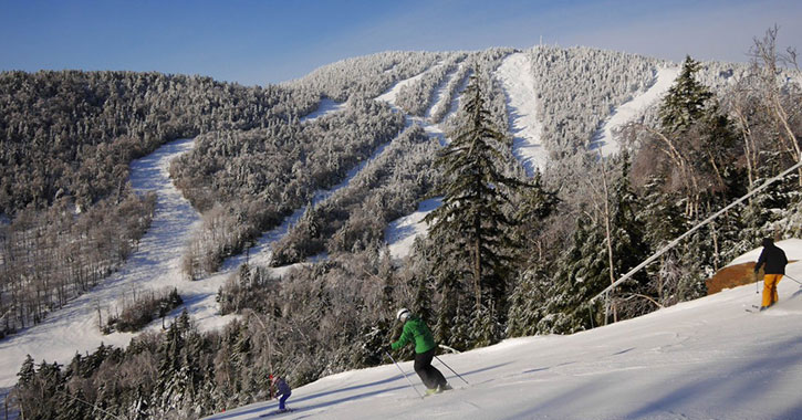 mountain view and skiers