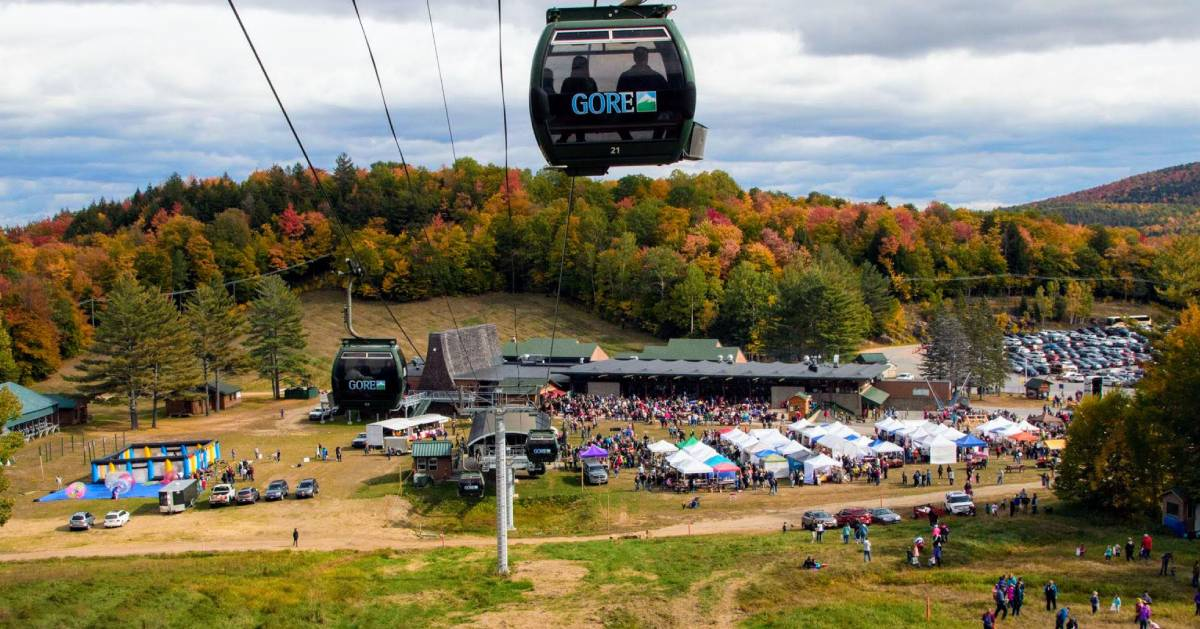 view of Gore's Fall Festival from a gondola