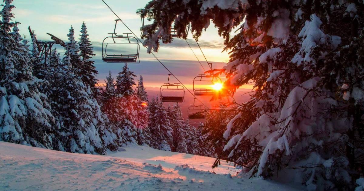 sunset at ski resort