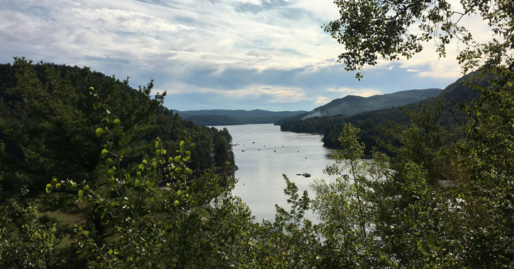 view of great sacandaga lake from an overlook