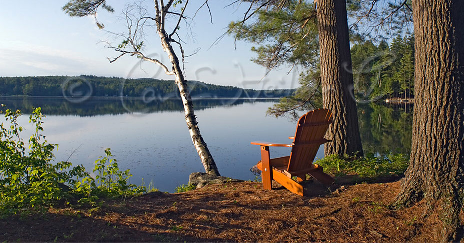 adirondck chair on the edge of a lake at sunrise