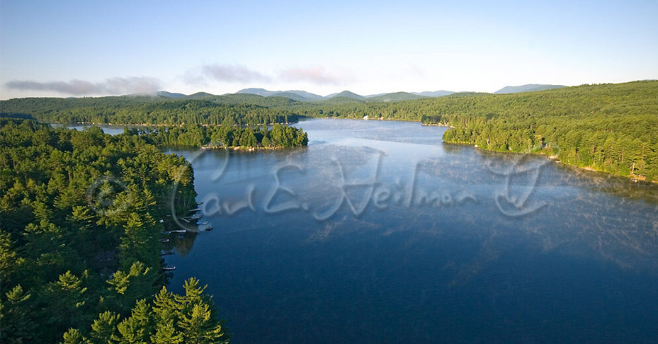aerial view of an adirondack lake