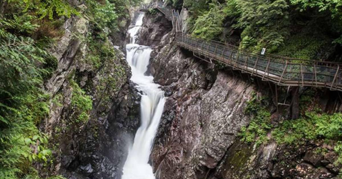 waterfall going over rocks