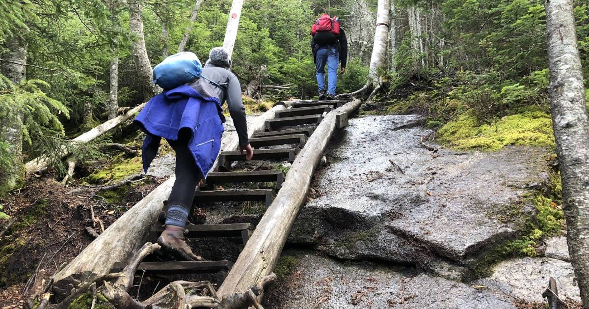 hikers going up stairs