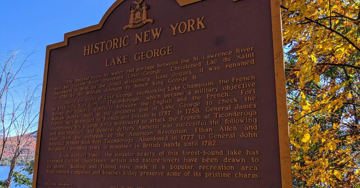 Historic Lake George sign, fall foliage