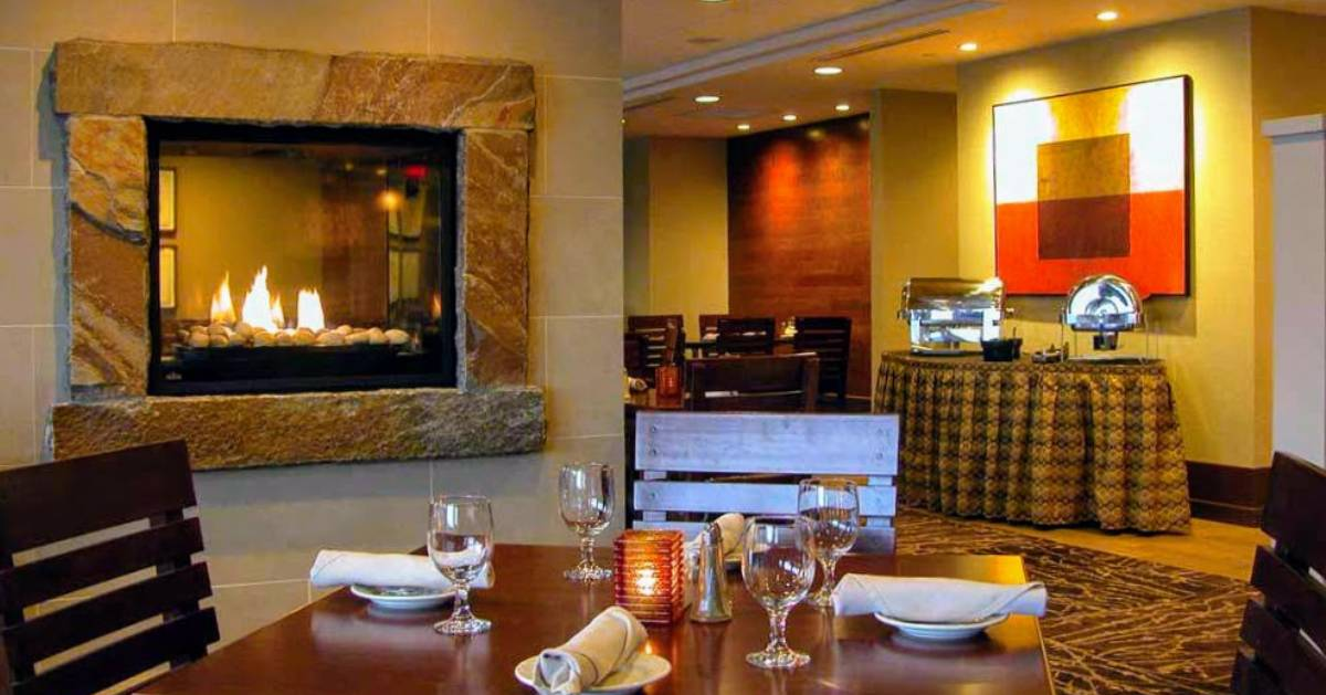 fireplace in restaurant room