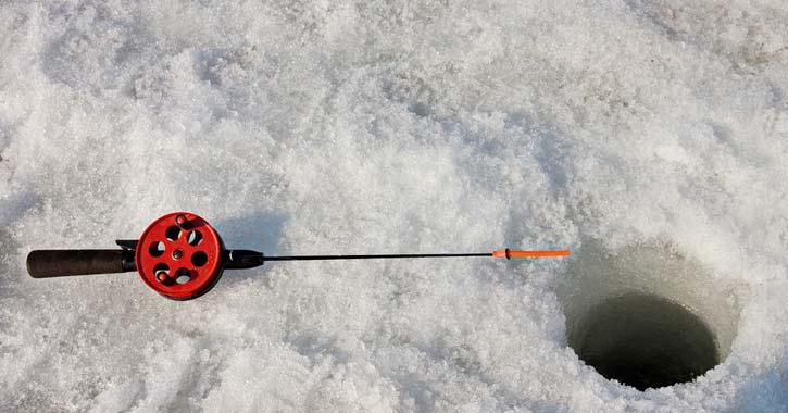 ice fishing pole and hole