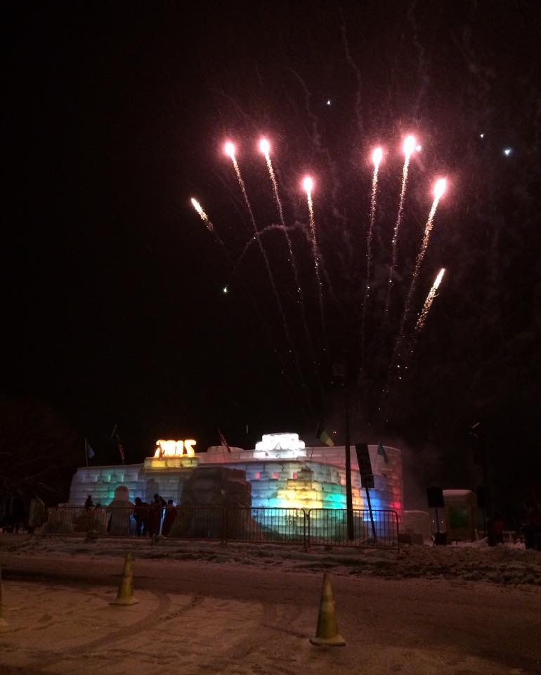 ice palace at night