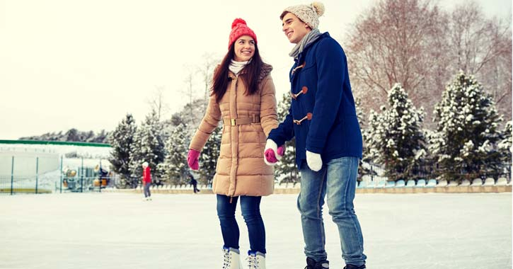 two people ice skating together