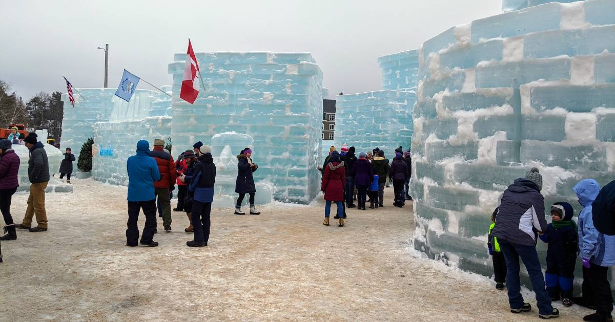 ice palace with people