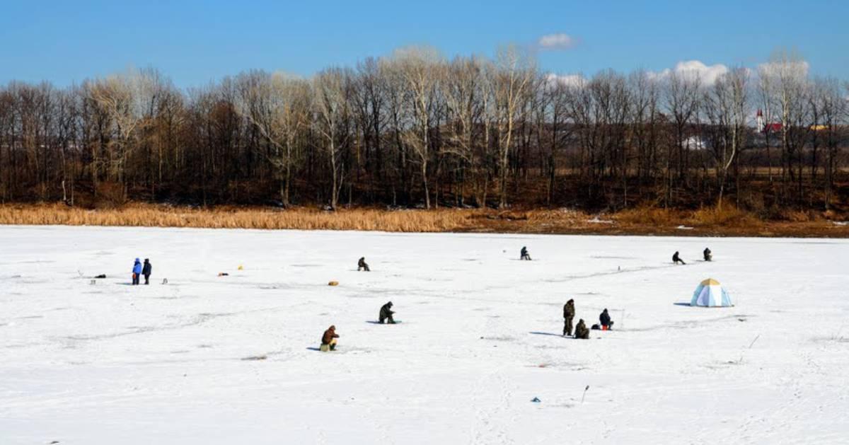 many people ice fishing on a lake