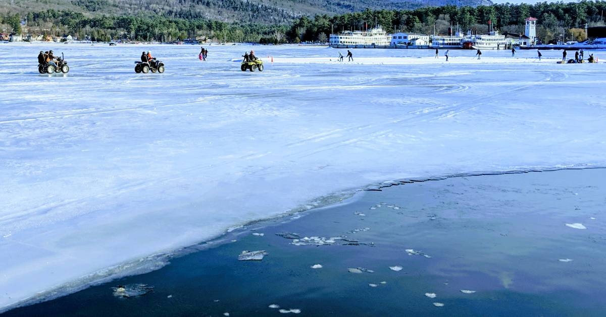 ice on lake with ATVs