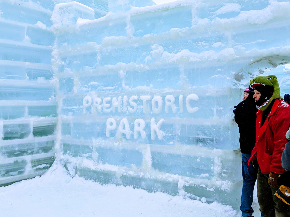 carving in ice palace that says Prehistoric Park