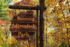 adirondack park sign with foliage