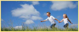 kids running in field