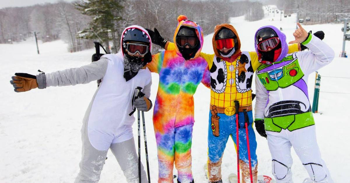 kids in ski gear and costumes