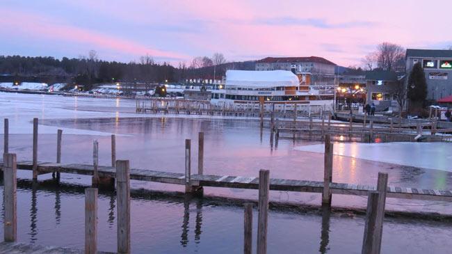 Lake George dock at sunset