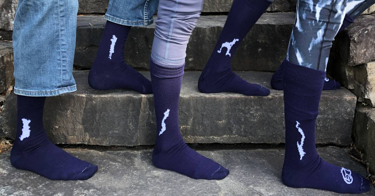 close up of socks with various lakes on them