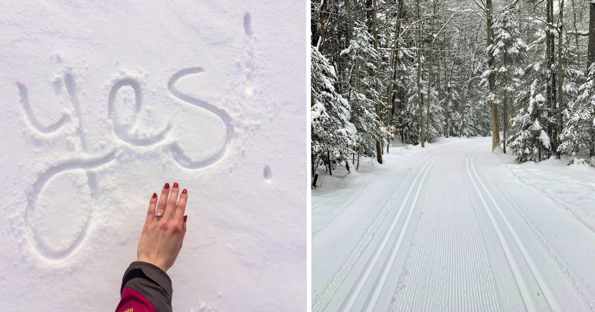 split image with hand with engagement ring and yes spelled out in the snow on the left and groomed cross-country ski trail on the right
