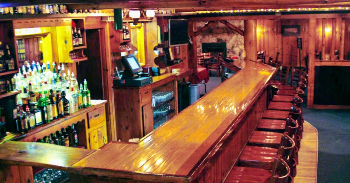 a rustic bar area