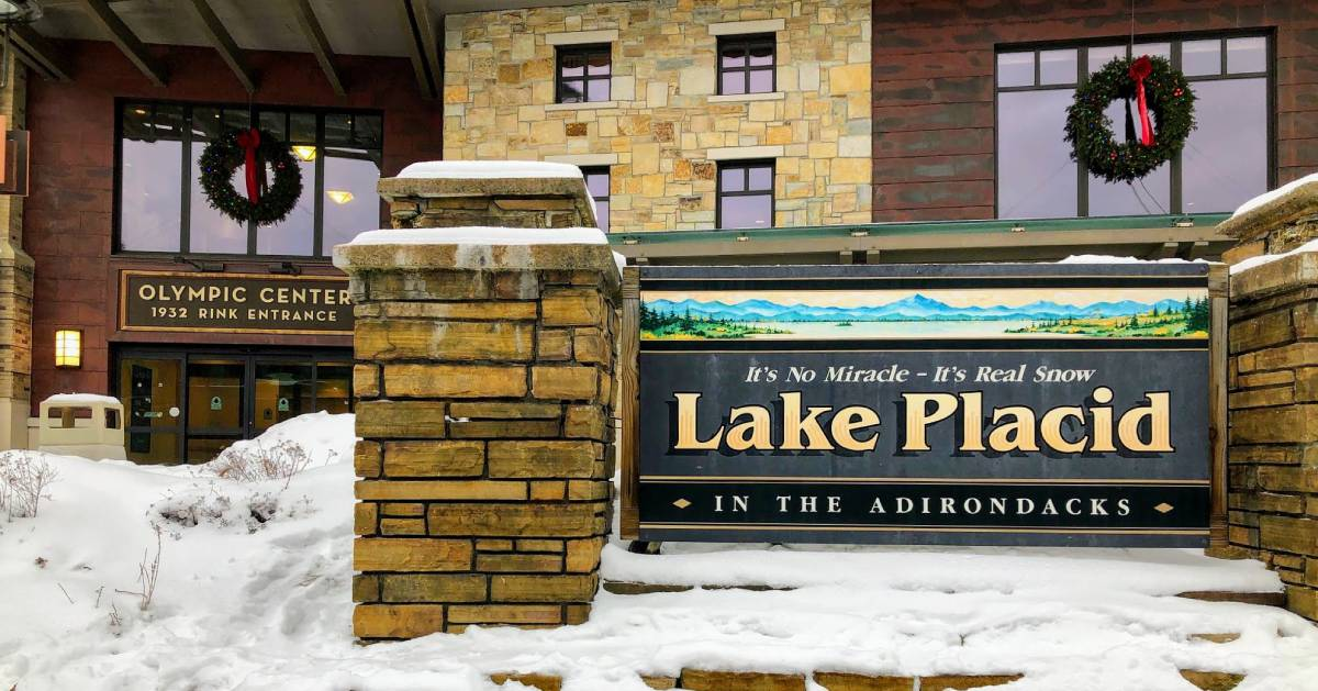 Olympic Center 1932 Rink Entrance by Lake Placid sign