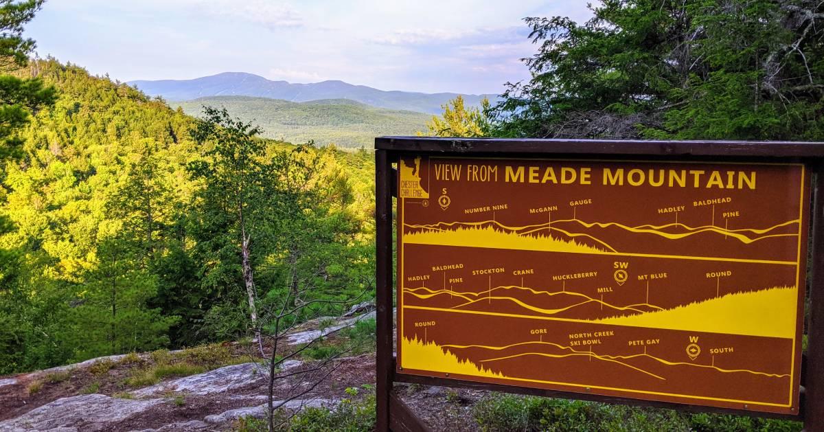 Meade Mountain sign on summit