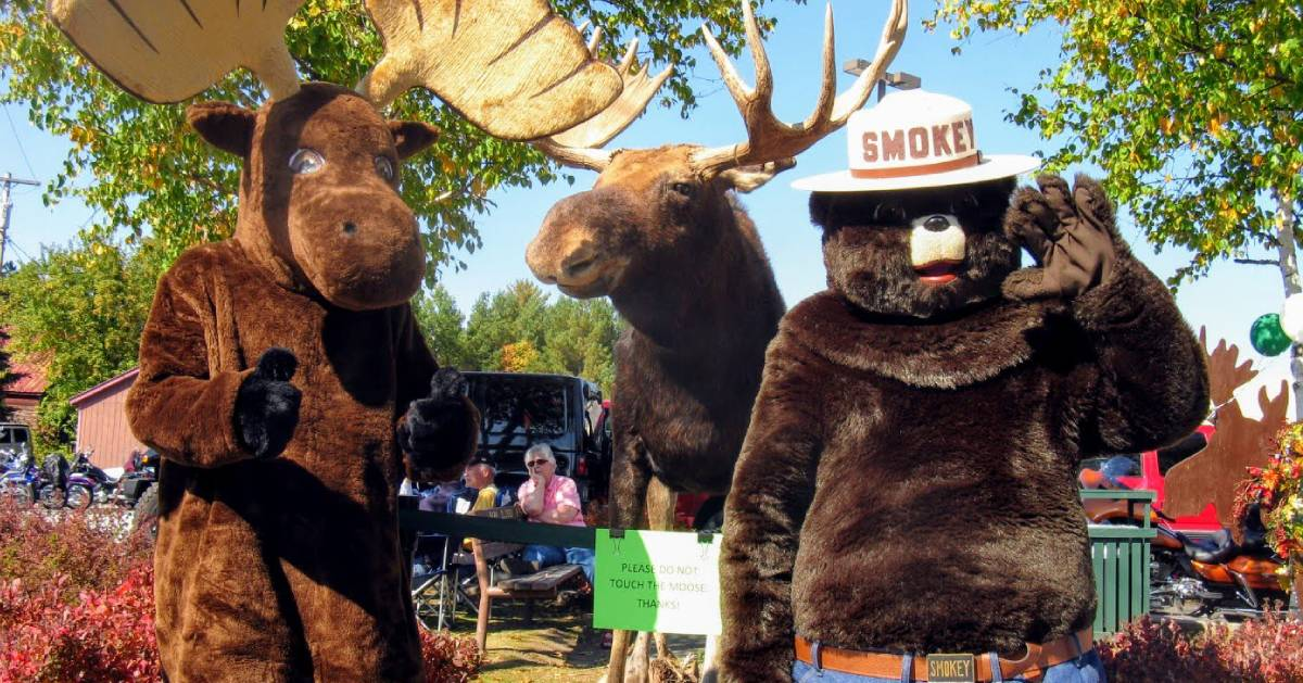 moose and bear costumed characters