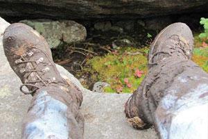 muddy hiking boots