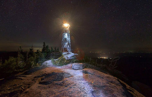 fire tower with light on