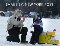 Ice Fishing In The Adirondacks On Connery Pond