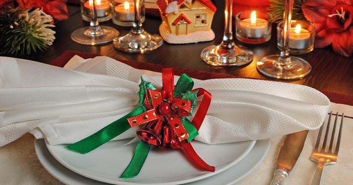 holiday setup on a dinner table