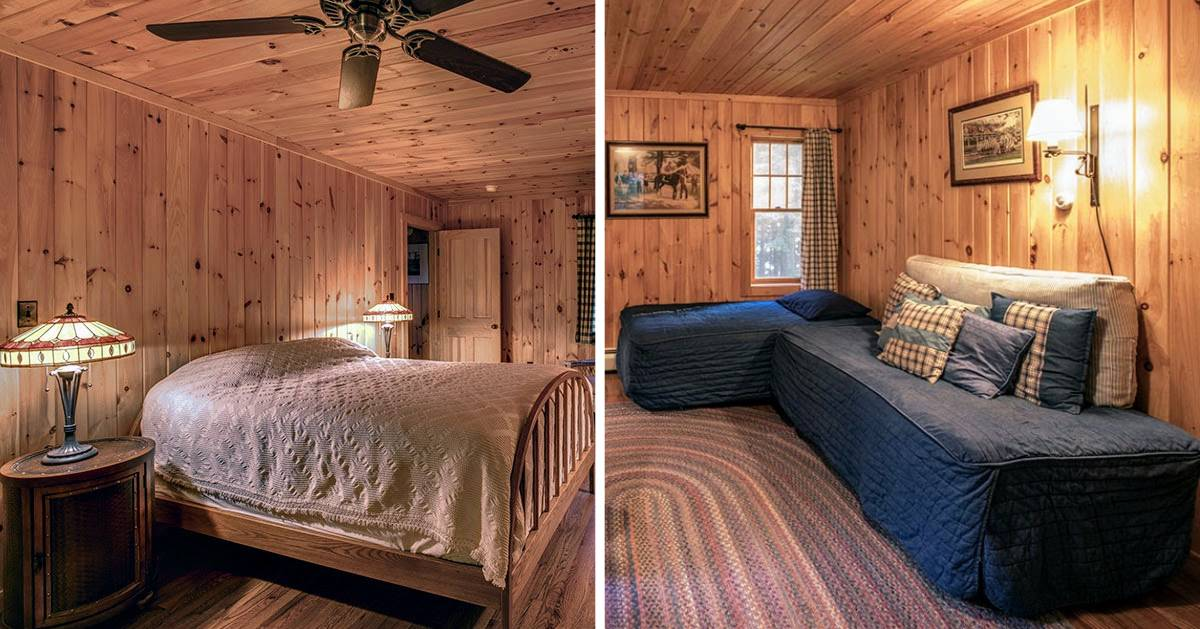 split image with cabin bedroom on left and sitting area on right