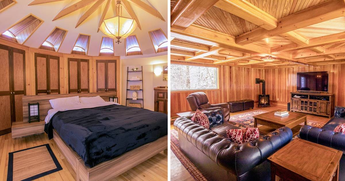 split image with elegant rustic lodging