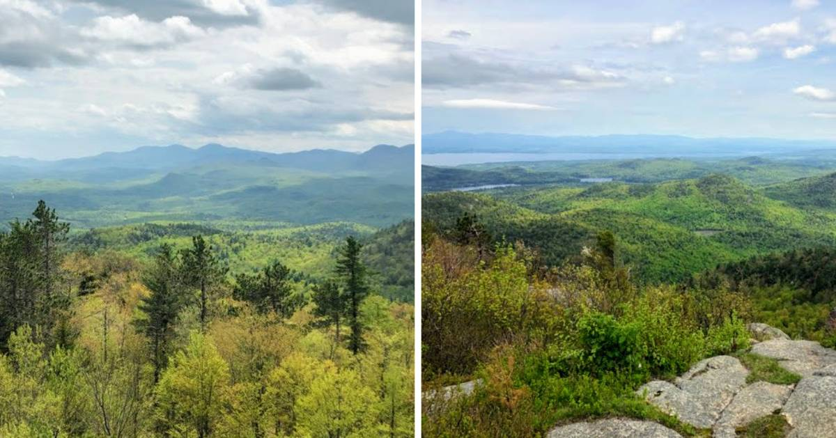 image split in two of photos of mountain landscape