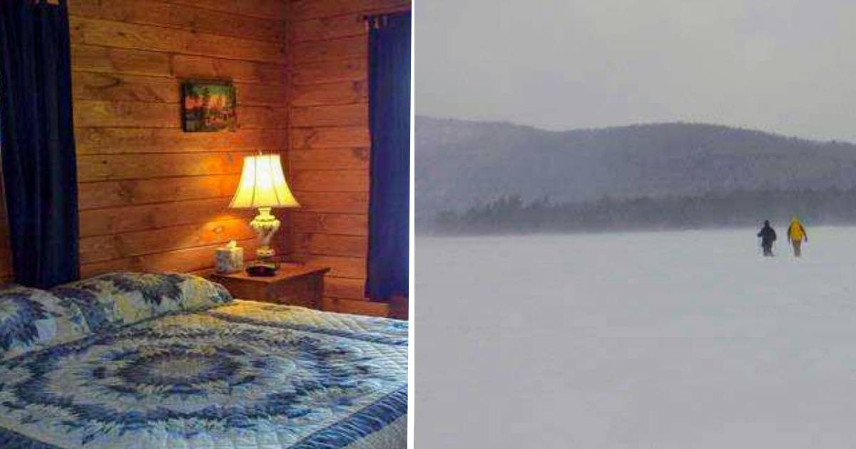 split image with bed on left and people snowshoeing in the distance on the right